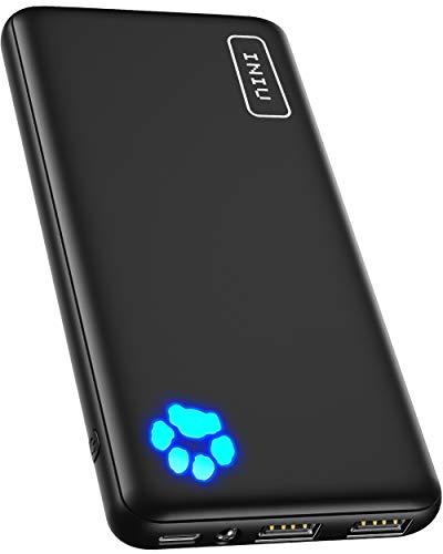 INIU Power Bank, Am schlanksten & leichtesten USB C 10000mAh Externer Akku, Drei 3A-Ausgänge Handy Powerbank mit Taschenlampe für iPhone 12 Samsung Galaxy S20 Huawei Xiaomi iPad Airpods Android mehr.