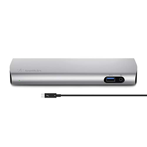 Belkin Thunderbolt3 Docking Station mit 80 cm langem Thunderbolt3-Kabel/USB-C (40Gbit/s, 85W Leistung, unterstützt zwei 4K-Bildschirme, 3x USB 3.0, Audioausgang, Gigabit-Ethernet)aluminium