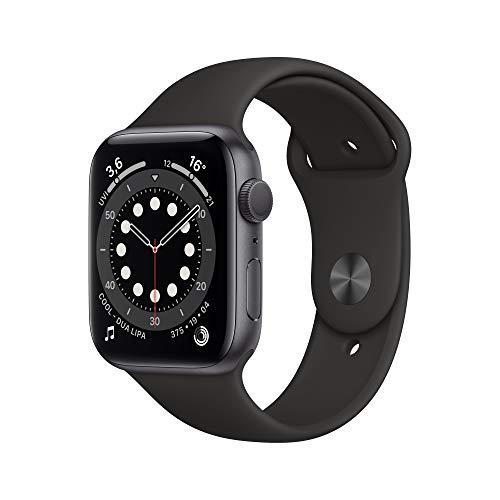 AppleWatch Series6 (GPS, 44mm) Aluminiumgehäuse Space Grau, Sportarmband Schwarz
