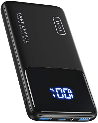 INIU Powerbank, 20W PD 3.0 QC4.0 Schnellladegerät LED Display 10500mAh Externer Akku, USB C Power Bank mit Handyhalterung & Taschenlampe für iPhone 12 Samsung S20 Huawei Xiaomi iPad Tablet Airpods usw