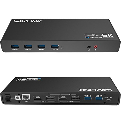 WAVLINK USB 3.0 / USB C Ultra 5K Universal Docking Station unterstützt Dual 4K Videoausgänge für Laptop, PC oder Mac (DisplayPort und HDMI, Gigabit Ethernet, Audioausgang und Mic in, 6 USB 3.0 Ports)