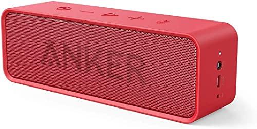 Anker SoundCore Kompakter Bluetooth 4.2 Lautsprecher, 24 Stunden Wiedergabe, Intensiver Bass, Integriertes Mikrofon, kompatibel mit iPhone, iPad, Samsung, Nexus, HTC und mehr (in Rot)