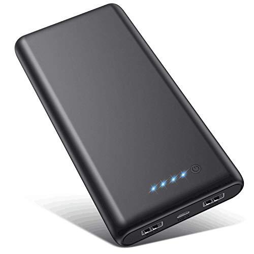 VOOE Power Bank 26800mAh【Hohe Effizienz- Ultrahohe Kapazität】 Externer Akku Power Pack Ladegerät Akkupack 2.1A 2-Port Ausgang Powerbank für Handy Tablet - Schwarz