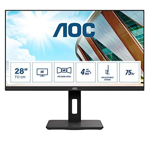AOC U28P2A - 28 Zoll UHD Monitor, höhenverstellbar (3840x2160, 60 Hz, HDMI, DisplayPort, USB Hub) schwarz