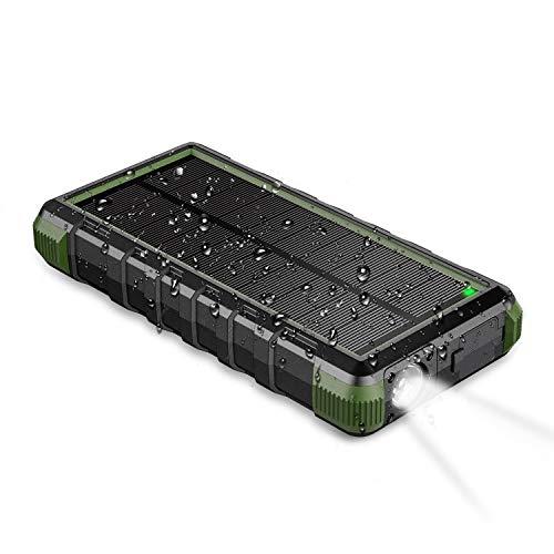 EasyAcc Powerbank 24000mAh Wasserdicht IP66 Outdoor Solar Akkupack USB C Externer Akku mit Taschenlampe für iPhone, iPad, Samsung Galaxy usw.
