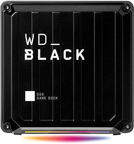 WD_Black D50 Game Dock 1 TB (2x Thunderbolt 3 Anschlüsse, DisplayPort 1.4, 2x USB-C, 3x USB-A, Audio Ein/Aus und Gigabit Ethernet anpassbare RGB-Beleuchtung) schwarz
