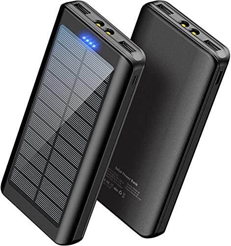 Solar Powerbank Handy 30000mAh - WBPINE Externer Akku USB Power Bank Doppelter USB-Ausgang mit LED-Taschenlampe für Camping Outdoor Solar Ladegerät Kompatibel mit Handy Phone   Android   Tablets