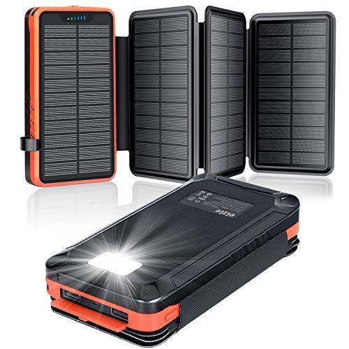 Solar Powerbank 26800mAh, elzle Solar Ladegerät mit 2 USB-Ausgangsport & 1 USB-Eingangsport, Outdoor Wasserfester Externer Akku mit 4 Solarpanels und Taschenlampe Für Smartphones Tablets Camping