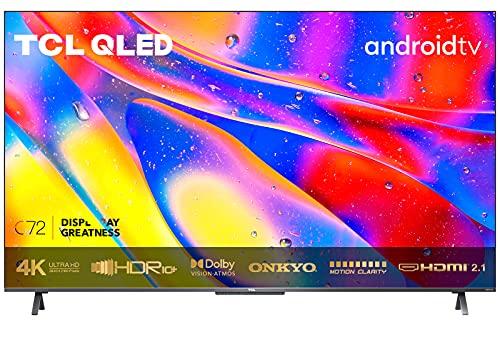 TCL 50C721 QLED Fernseher 50 Zoll (126 cm) Smart TV (4K UHD, Dolby Vision Atmos, MEMC, Android 11, ONKYO-Lautsprecher, Google Duo, Google Assistant&Alexa, rahmenloses Metalldesign)[Modelljahr 2021]