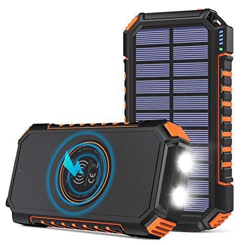 Hiluckey Wireless Solar Powerbank 26800mAh Wasserdichtes Solar Ladegerät USB C Externer Akku mit 4 Outputs, Power Bank für Smartphones, Tablets und mehr