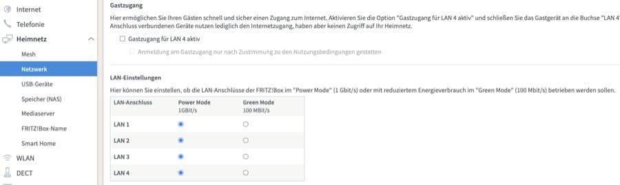 FritzBox Power Mode